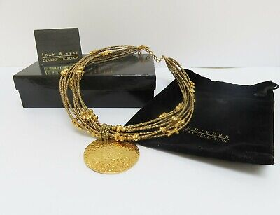 Signed Joan Rivers Gold Beaded Statement Necklace - 10 strand - Boxed