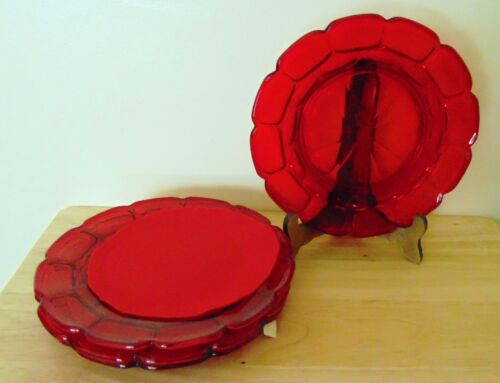 "4 Fostoria Argus Ruby Red 8"" Plates"