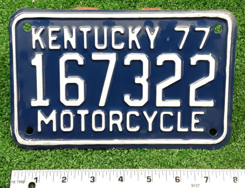 KENTUCKY - 1977 private MOTORCYCLE license plate - excellent original