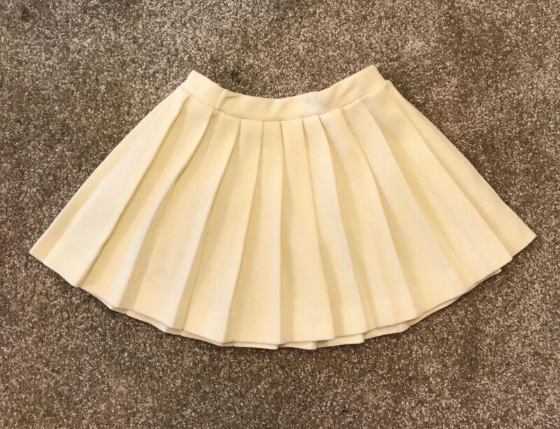 Vintage Pleated Skirt AILEEN Ivory Acrylic Elastic Full 1960s Toddler Sz 3 / 4