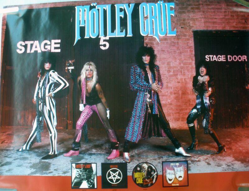RARE MOTLEY CRUE 1985 VINTAGE ORIG MUSIC RECORD STORE MOTLEY ALBUMS PROMO POSTER
