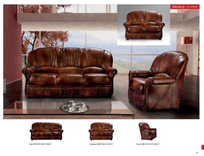 Traditional Brown Leather Living Room Sofa Set 3pcs Classic Esf Monica