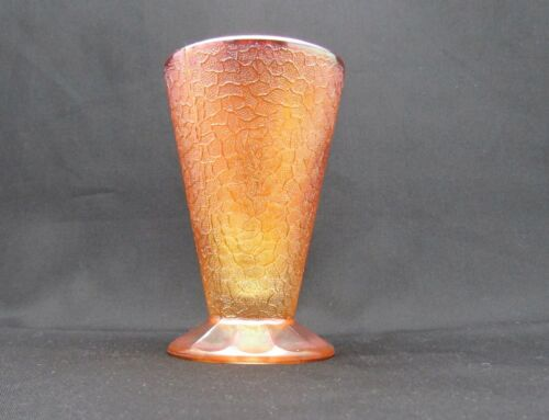 Jeannette Glass 1929 Crackle Marigold Carnival Glass Iridescent Footed Tumbler