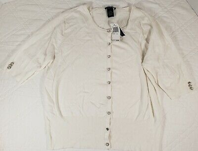 Audrey and Grace Women's Beige Button Down Cardigan Size Large