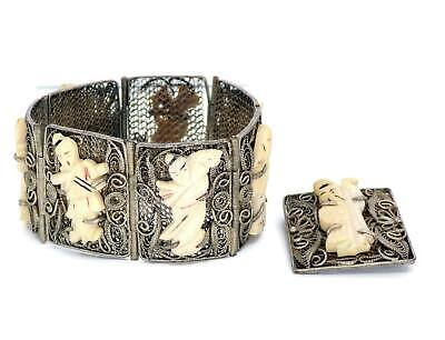 Antique Chinese Export Silver Charm Bracelet