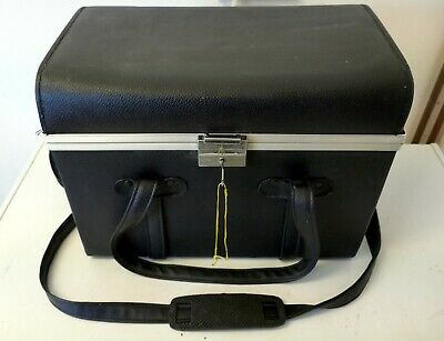 Vintage Large Heavy Duty Leather Camera Storage Case +Key, Shoulder Strap