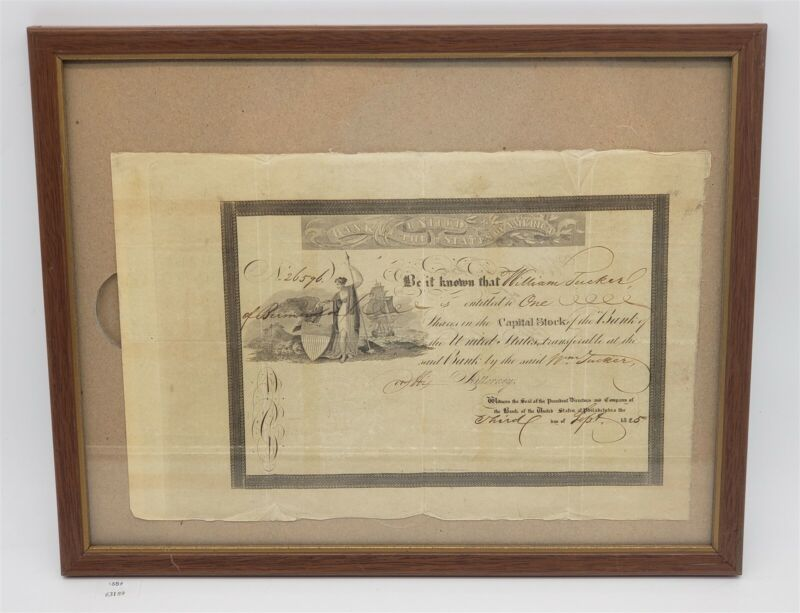 ThriftCHI ~ 1826 William Tucker Bank of United States Capital Stock Certificate