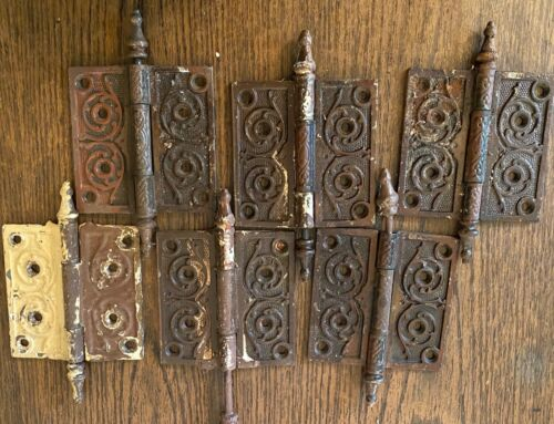 Victorian Iron Door Hinges 6 Hinges or 3 Sets Ornate