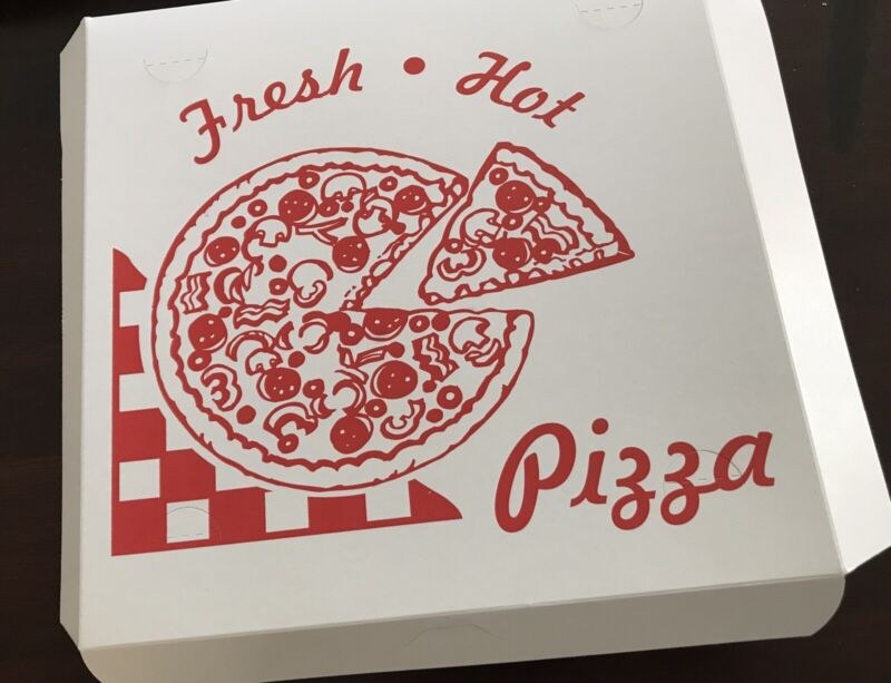 """Square Stock Printed Pizza Box 12L x 12W x 1.75"""" D Clay Coated 