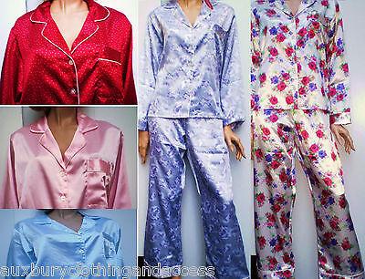 Luxury Nightwear Satin Style Polycotton Pyjamas Smooth Cuddle Skin Lined 12 to22 - Lined Satin Pajamas