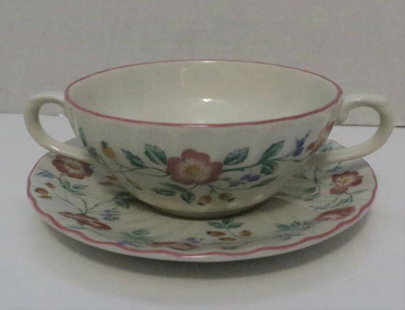 """One Churchill Staffordshire England """"Briar Rose"""" Cream Soup - Excellent"""