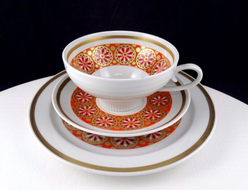 """WEISSWASSER GERMANY RED AND GOLD FLORAL 2 1/8"""" CUP SAUCER AND LUNCHEON TRIO SET"""