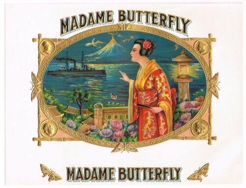 ORIGINAL CIGAR BOX LABEL INNER MADAME BUTTERFLY EMBOSSED BEAUTY JAPAN C1915 N68