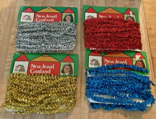 """4 Vintage Miniature Christmas Tree Tinsel Garland 1/2"""" Red Blue Silver Gold"""