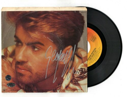 "GEORGE MICHAEL SIGNED AUTOGRAPH ""ONE MORE TRY"" 45 RECORD SLEEVE-WHAM"