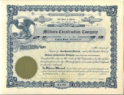 Milburn Construction Company Stock Certificate Jacksonville Florida