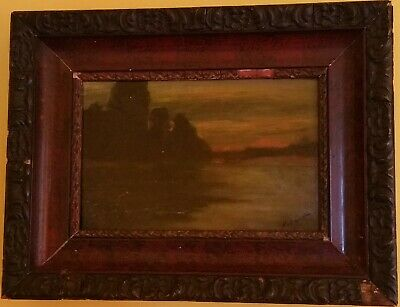 Hungarian PAINTING Signing MEDNYANSZKY LASZLO OIL ON CANVAS RIVER AT SUNSET