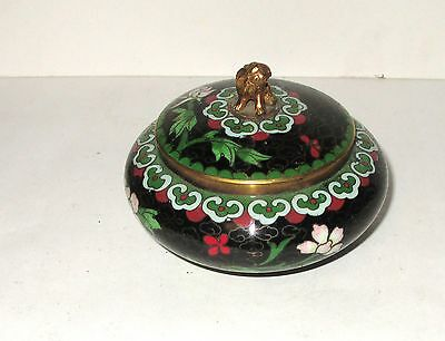 SMALL CHINESE CLOISONNE BLACK ENAMEL FOO DOG BOWL JAR BOX  on Rummage