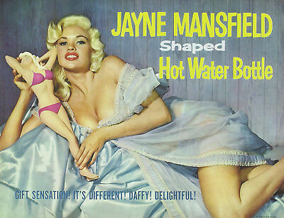 JAYNE MANSFIELD GLOSSY POSTER PICTURE PHOTO ACTRESS SHAPED HOT WATER BOTTLE AD 7 - Photo Water Bottle