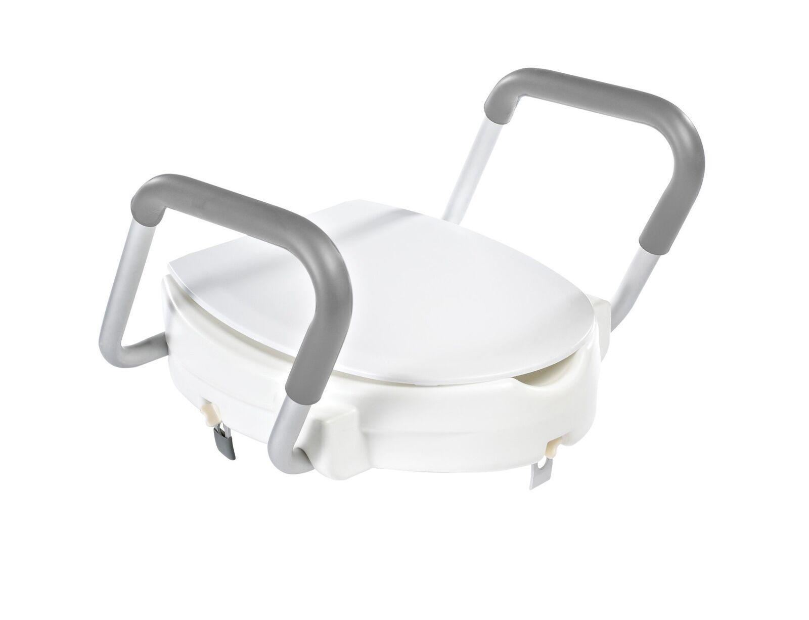WC Sitz Erhöhung Toilettensitzerhöher Sitzerhöhung Griffe Deckel weiß 150 kg LGA