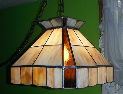 VINTAGE SLAG HANGING LAMP CARAMEL AND WHITE BEAUTIFUL RARE FIND