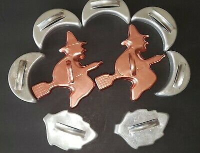 9 Vintage 1950's Mirro Aluminum Halloween Cookie Cutters Witch Broom Moon Leaf
