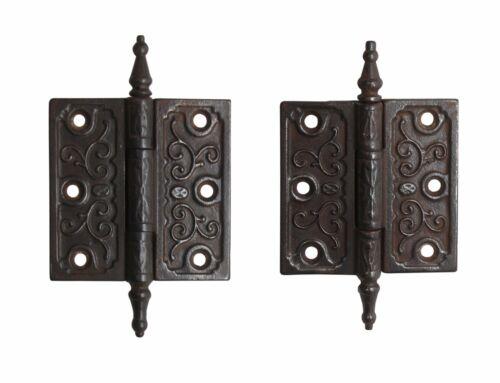 Pair of Victorian 3.5 x 3.5 Cast Iron Butt Antique Door Hinges