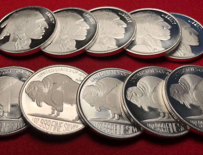 1 TROY oz ounce .999 FINE SILVER Buffalo Round Bullion Coin *FREE COIN!*