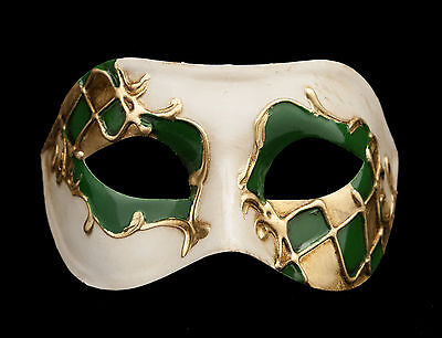 Mask from Venice Colombine Harlequin Green And Golden For Prom Mask 924 V23