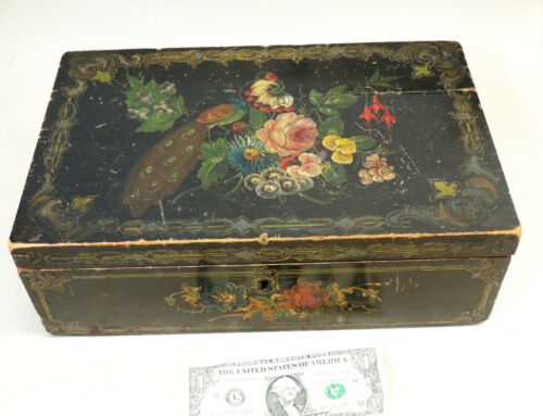 Antique c1870s Victorian SEWING BOX Hand Painted Lacquer Tole Painting PEACOCK