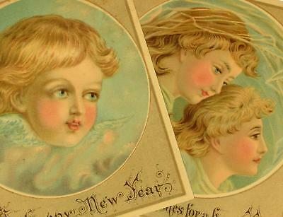 Lot of 2 Matched Pair Young Women Little Girl Angel  Victorian New Year Cards