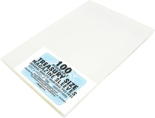 (100) Treasury Size RESEALABLE Magazine Comic Sleeves Slips Covers Bags ARCHIVAL