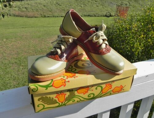 Vintage Classic BROWN/beige Saddle Oxford Shoes Leather US Children
