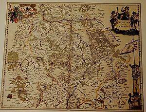 Historische Landkarte Pfalz, Saarbrücken, Medelsheim, Pirmasens, Landau 1658