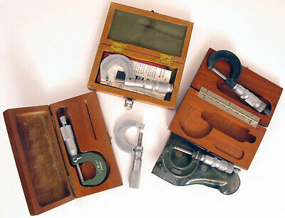 Lot Of 5 Micrometers Craftsman Central Tool Mitutoyo And Bs Empty Wood Box