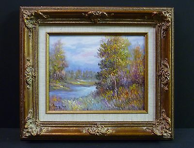 Country Trees Stream Landscape Original Ronny Lee 10X8 Oil Painting Framed Art
