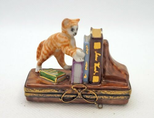 New French Limoges Trinket Box Playful Stripe Kitty Cat on Book Shelf with Books