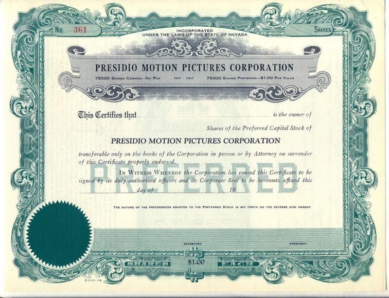 Presidio Motion Pictures Corporation Stock Certificate Nevada Movie