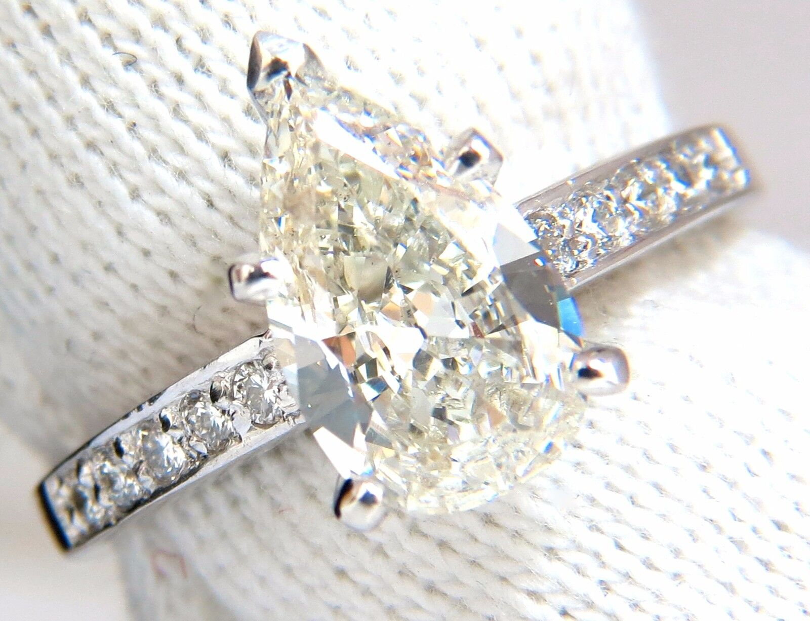 GIA Certified 1.49ct Pear Shape diamond ring .20ct. round accents 14kt 8