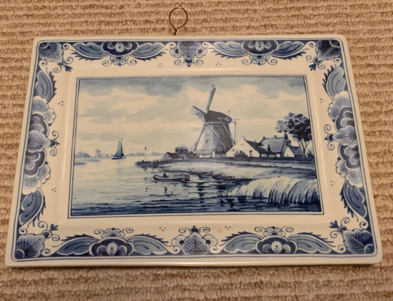 Westraven Anno 1661 Delft Handwerks Pottery Wall Plaque Tray Windmill Holland