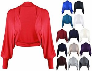 New-Ladies-Batwing-Shrug-Long-Sleeve-Womens-Jersey-Bolero-Cardigan-Top-Size-8-14
