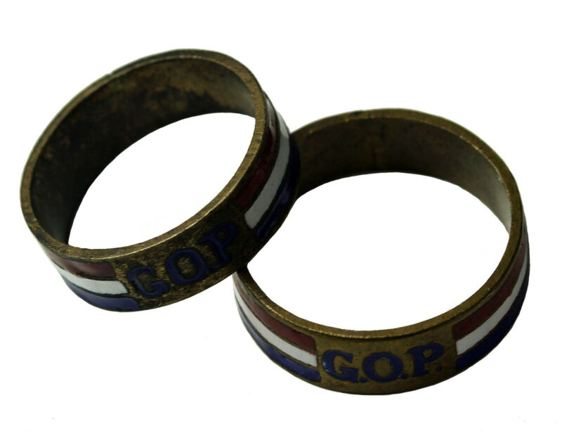 Rare 1884-1896 GOP Grand Old Party Republican Convention His Hers Brass Rings