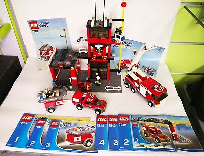 LEGO CITY 7239 + 7240 CASERMA DEI POMPIERI + AUTOPOMPA POMPIERI CON MOTOSCAFO