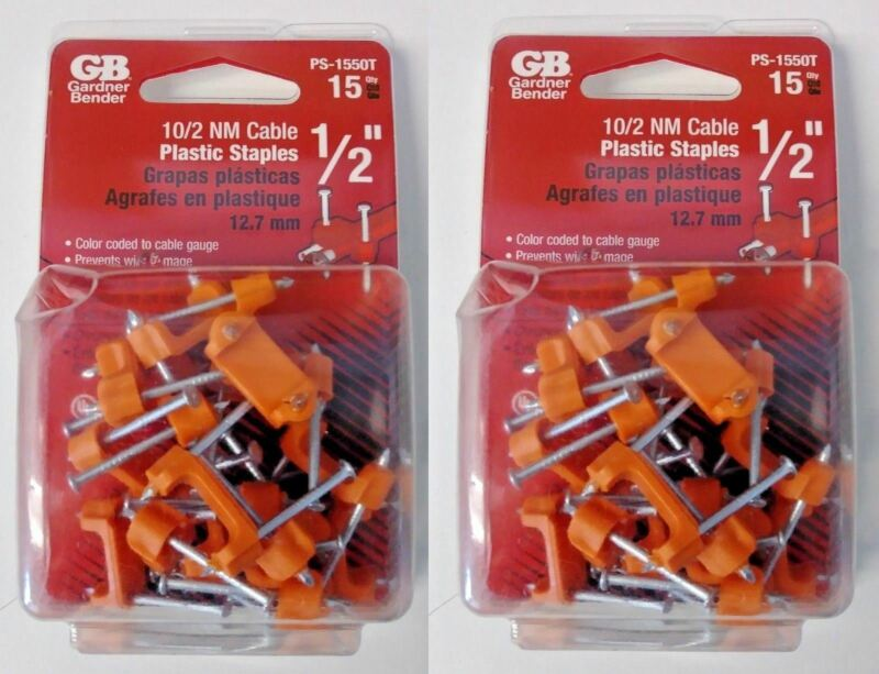 "Gardner Bender PS-1550T 1/2"" 10/2 NM Cable Plastic Staples USA (2 Packs of 15)"