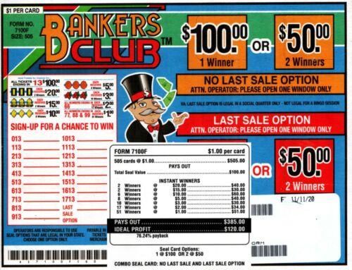 505ct 5W BANKERS CLUB seal card Bingo Pull Tab Tip Board  (1-$100) LS sign OPT