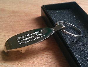 personalised chrome bottle opener keyring keychain engraved christmas birthday ebay. Black Bedroom Furniture Sets. Home Design Ideas