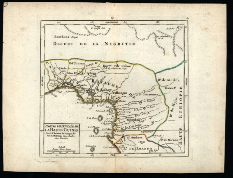 West Africa Guinea Kingdom of Benin 1750 Vaugondy map