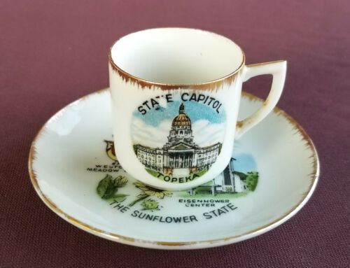 KANSAS Vintage 1960s Souvenir CUP and SAUCER The Sunflower State