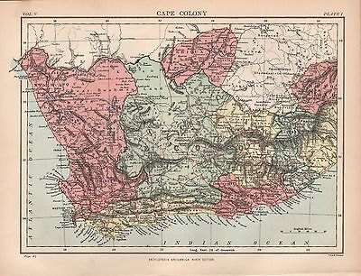 1880 ca ANTIQUE MAP-AFRICA, SOUTH AFRICA, CAPE COLONY