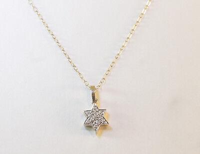 "DIAMOND STAR OF DAVID JEWISH PENDANT 14K YELLOW GOLD 20"" CABLE CHIAN"